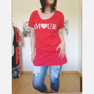 Tee shirt long Amour rouge